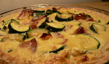 made my first quiche tonight with zucchini, bacon, and Gruyère ...